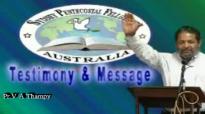 Malayalam Christian Testimony Pr V A Thampy