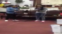 Le'Andria Johnson singingHe's Able at Tim Rogers birthday celebration with his daughters.flv